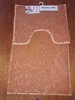 Набор ковриков в ванную и туалет с вырезом ROOM MAT 2 в 1 Микрофибра антискользящий бежевый