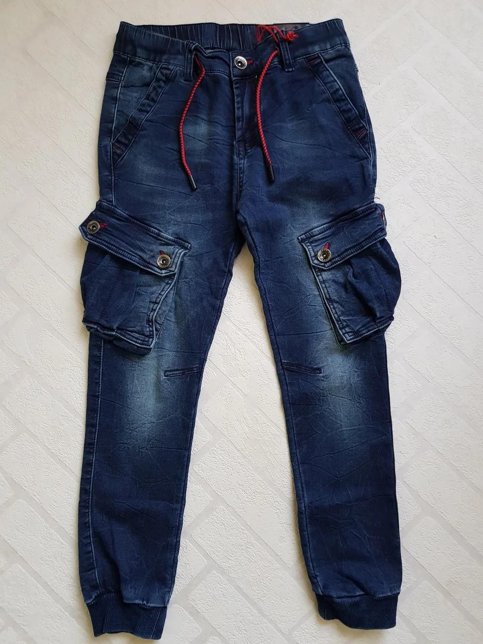 Джинсовые брюки ЯСТРЕБ с накладными карманами, для мальчиков.Размеры 6-16.Фирма S&D. Венгрия