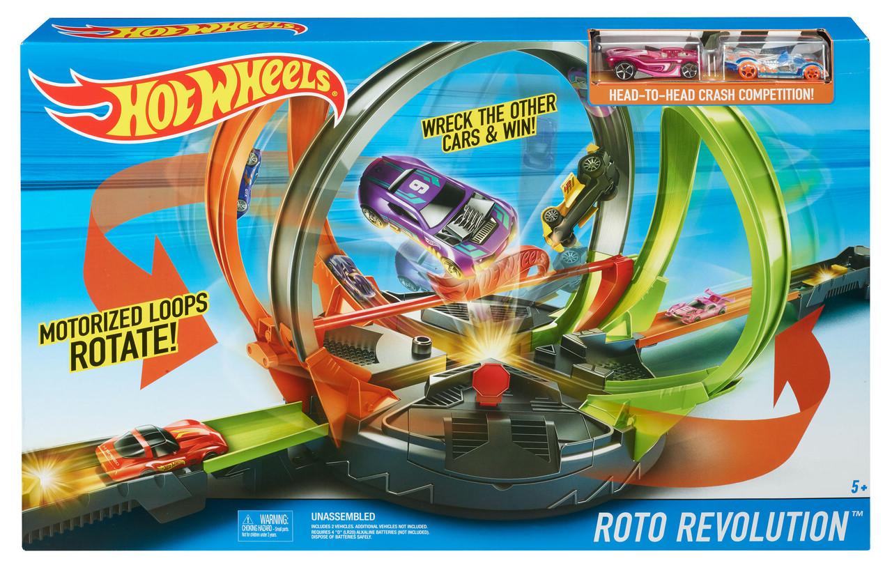 Моторизированный трек Хот Вилс Революционные гонки Улетное вращение Hot Wheels Roto Revolution