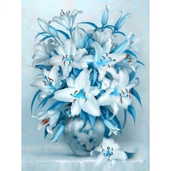 Алмазная мозайка Diy Букет Лилий 40х30см. Цветы, лилии, натюрморт, кругл стразы, 19 цветов, полная зашивка