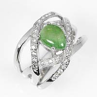 Серебряное кольцо с зеленым гранатом в белом золоте 17 р