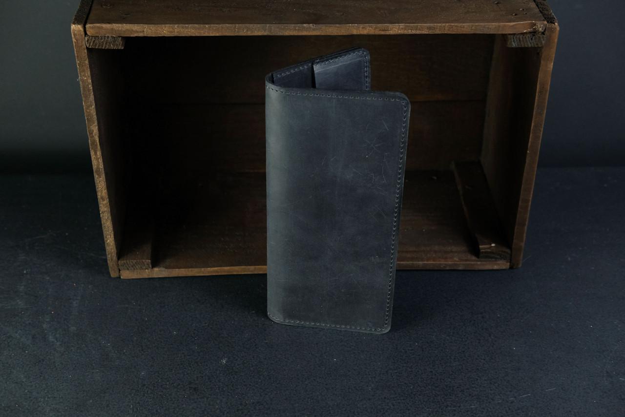 Кошелек Лонг на 4 карты Винтажная кожа цвет Черный