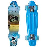 Скейтборд пластиковый Penny со светящимися колесами, колесо-PU, р-р деки 56х15см, синий (SK-881-3)