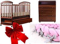 ПОЛНЫЙ НАБОР!  Кроватка для новородженного, комод, постельный набор в кроватку 9в1, матрас