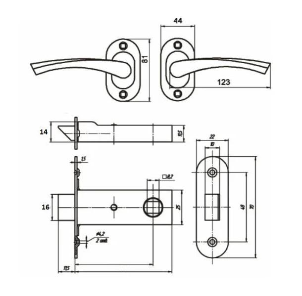 Схема ручки защелки Омега ЗЩ2.03