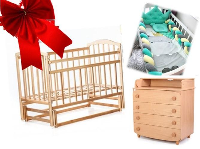 НАБОР! Кроватка для новородженного , постельный набор , матрас, комод пеленатор
