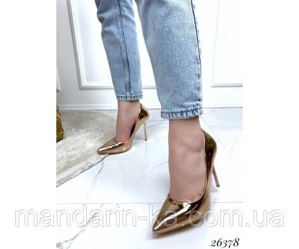 Туфли лодочки женские демисезонные на шпильке золото
