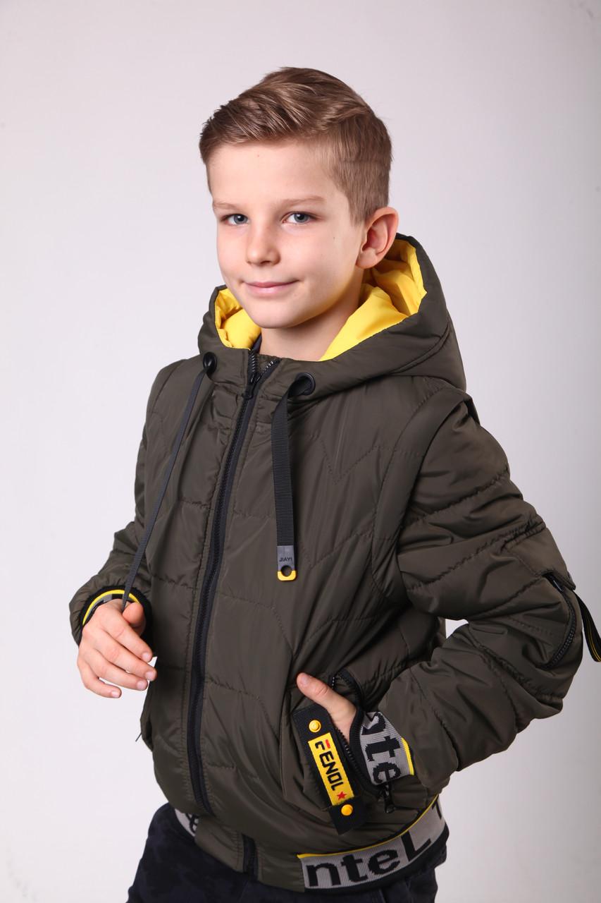 Куртка весняна для хлопчика 34;36:38цвет хакі