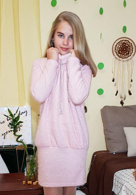 Подростковое теплое платье для девочек Риана 134 рост