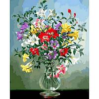 Картина по номерам Фрезии в стеклянной вазе Q2163 40x50 см., Mariposa