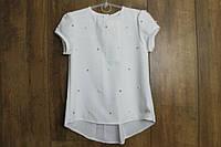 Шифоновая блузка с жемчугом для девочек. 146- 152 рост