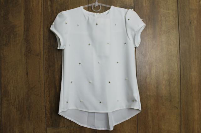 Шифоновая блузка с жемчугом для девочек. 122- 152 рост