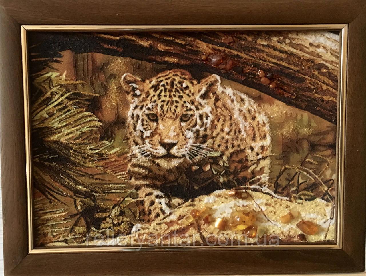 """Картина из янтаря """"Леопард на охоте """", Картина з бурштина """"  Леопард на полюванні """" 30x40 см"""