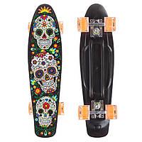 Скейтборд пластиковый Penny со светящимися колесами, колесо-PU, р-р деки 56х15см, черный (SK-881-7)
