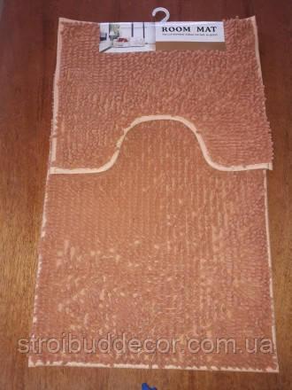 Набор ковриков в ванную и туалет с вырезом 50*80 ROOM MAT 2 в 1 Микрофибра антискользящий бежевый
