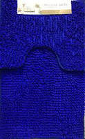 Набор ковриков в ванную и туалет с вырезом 50*80 ROOM MAT 2 в 1 Микрофибра антискользящий синий