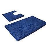 Набор ковриков в ванную и туалет с вырезом 50*80 ROOM MAT 2 в 1 Микрофибра антискользящий синий, фото 2