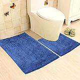 Набор ковриков в ванную и туалет с вырезом 50*80 ROOM MAT 2 в 1 Микрофибра антискользящий синий, фото 3