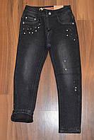 Черные джинсы утеплённые на флисе для девочек ,размеры 116-146 см.Фирма GRACE .Венгрия, фото 1
