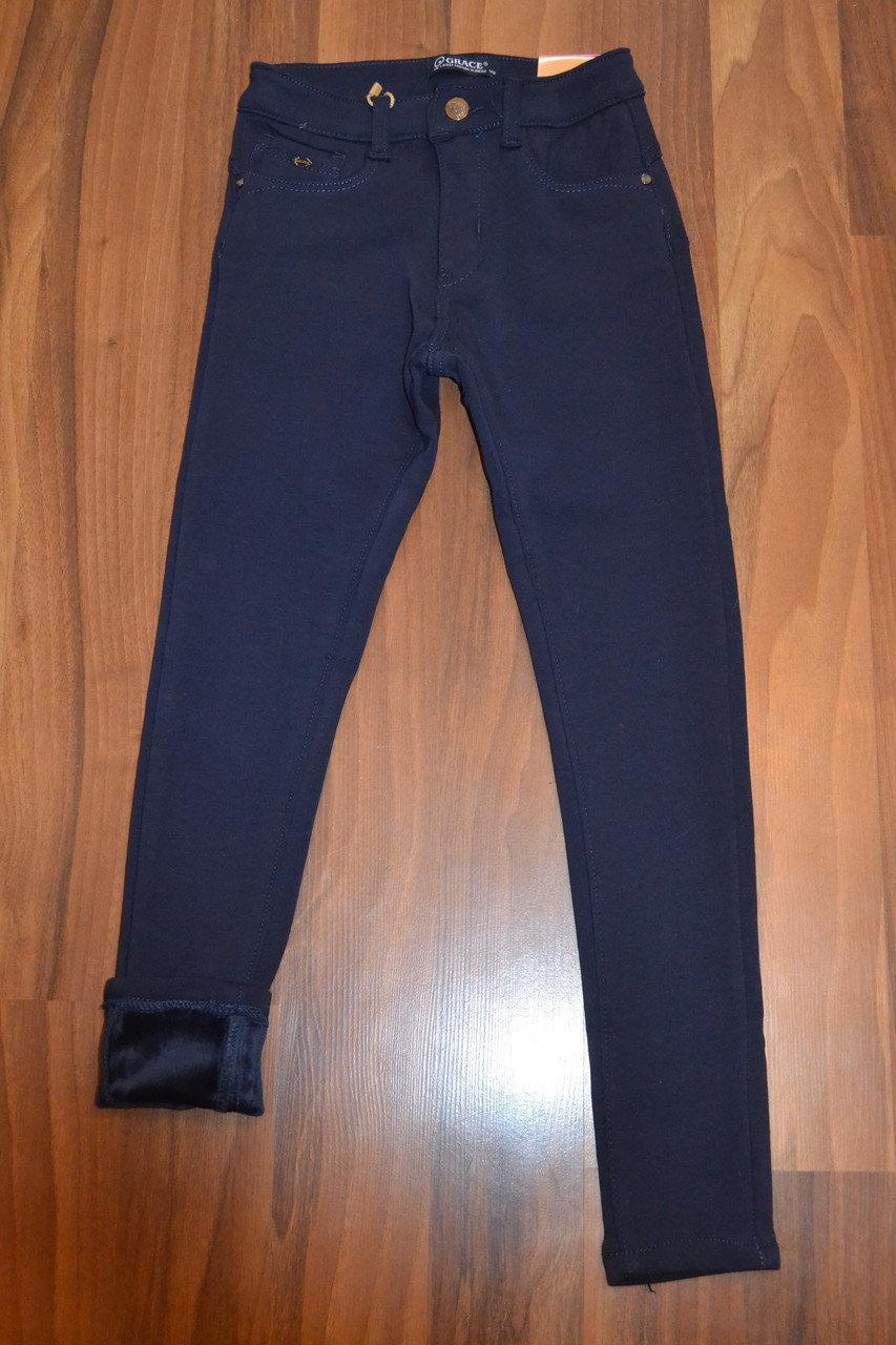 Утеплённые,синие, стрейчевые брючки-СКИННИ для девочек.Размеры 140-170 см .Фирма GRACE.Венгрия