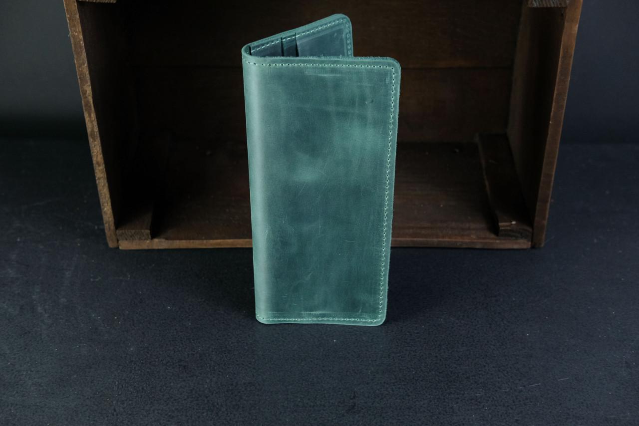 Кошелек клатч Лонг на 4 карты Винтажная кожа цвет Зеленый