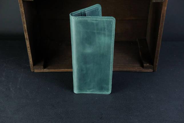 Кошелек клатч Лонг на 4 карты Винтажная кожа цвет Зеленый, фото 2