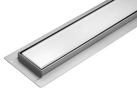 Трап лінійний зливний з білим склом Fala White Glass 900 мм із нержавіючої сталі
