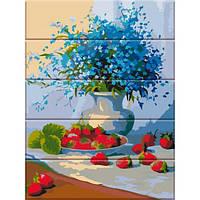 Картина по номерам на дереве Цветы и земляника, 30x40 см., Art Story