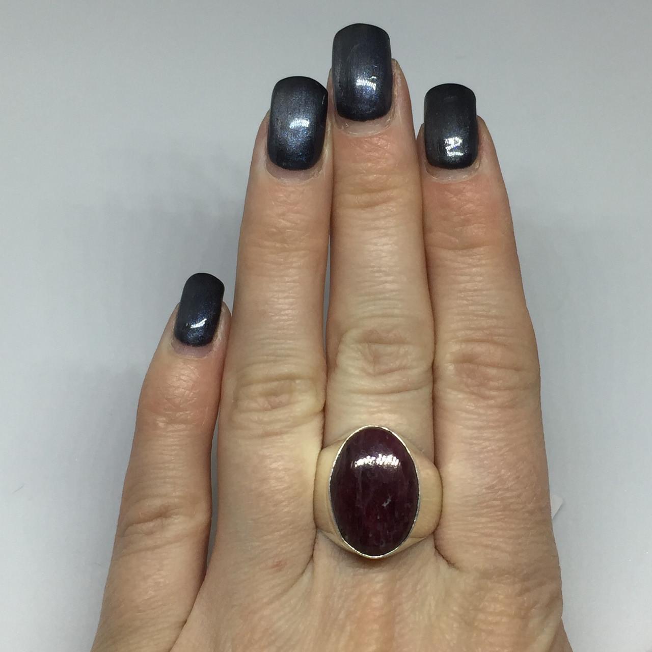 Рубин овальное кольцо с камнем рубин размер 19 кольцо с рубином Индия!