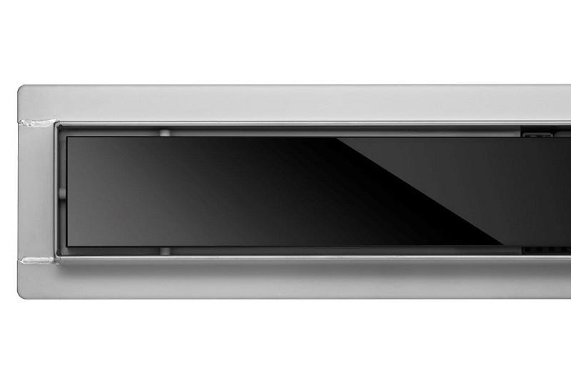 Душевой трап с черным стеклом Fala Black Glass 600 мм из нержавеющей стали