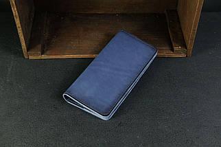 Гаманець Лонг на 4 карти Шкіра Італійський краст колір Синій, фото 2