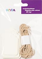 Подарочные бирки кремовые со шнуром натурального цвета Heyda, 30 шт