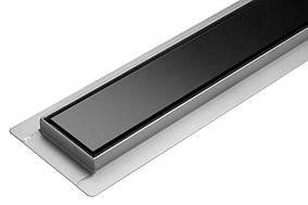 Трап для душу скляний чорний з сухим затвором Fala Black Glass 700 мм із нержавіючої сталі