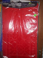 Набор ковриков в ванную и туалет с вырезом  Dariana антискользящий красный 60×100+60×50 ворсистый