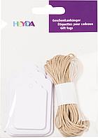Подарочные бирки белые со шнуром натурального цвета Heyda, 30 шт