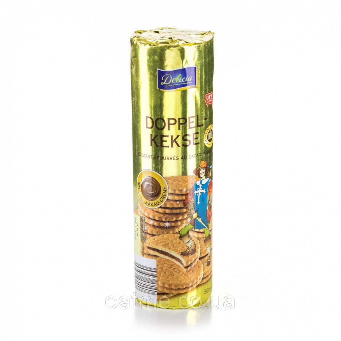 Delisia Doppel-kekse Печенье-сэндвич с шоколадной прослойкой