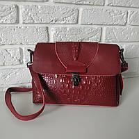 "Женская кожаная сумка с тиснением аллигатора  ""Мелитта Red Wine"", фото 1"