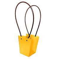 Бумажная сумка -трапеция влагостойкая для букетов персиковая
