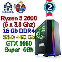 Игровой компьютер / ПК ( AMD Ryzen 5 2600(6 x 3.9GHz) / B450 / 16Gb DDR4 / SSD 480Gb / GTX 1660 S 6Gb / 500W)