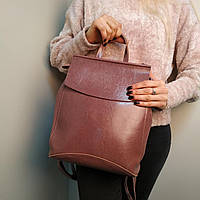 """Женский кожаный рюкзак-сумка(трансформер) """"Анжелика Lilac"""""""
