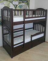 Двох'ярусне ліжко з натурального дерева з висувними ящиками Юлія, трансформер