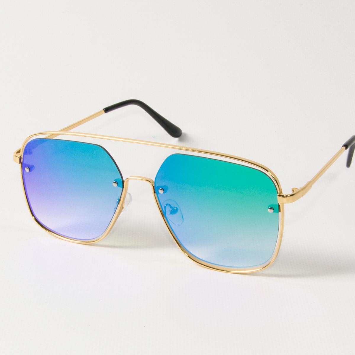 Оптом женские солнцезащитные квадратные зеркальные очки (арт. 6249/3) сине-зеленые