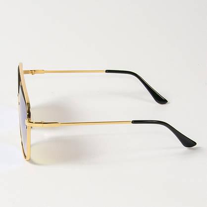 Оптом женские солнцезащитные квадратные зеркальные очки (арт. 6249/3) сине-зеленые, фото 2