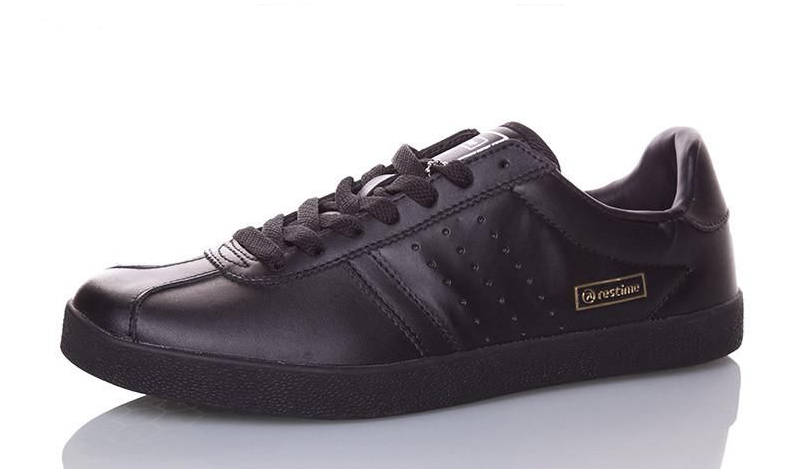 Кроссовки, кеды мужские кожаные Restime чёрные