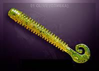 Съедобная резина Crazy Fish ACTIVE SLUG olive (оливка)