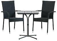 Комплект мебели для сада и дачи (2 стула + столик на ножке), Петан (искусственный ротанг)