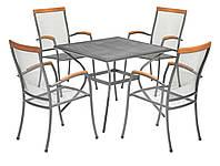 Комплект мебели для сада и дачи из метала (4 стула и квадратный столик )