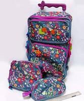 """Рюкзак на колесах """"ЦВЕТЫ"""" в наборе сумочка и пенал"""