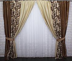 Шторы из ткани блекаут Софт. Цвет коричневый с песочным. Код 016дк