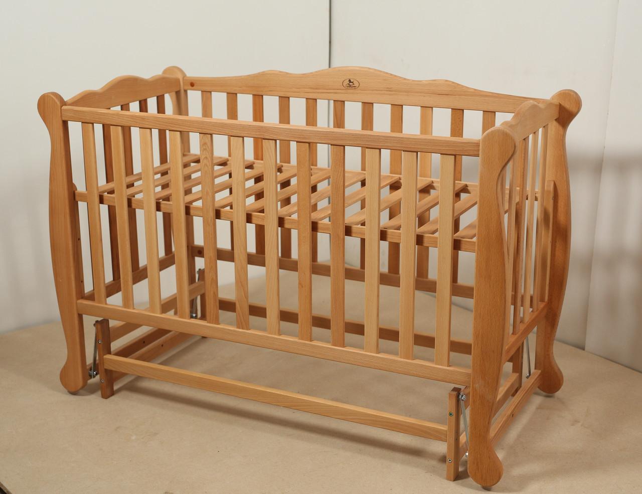 Кровать «NATALI» на подшипниках с откидной боковиной (600 * 1200) (Бук)